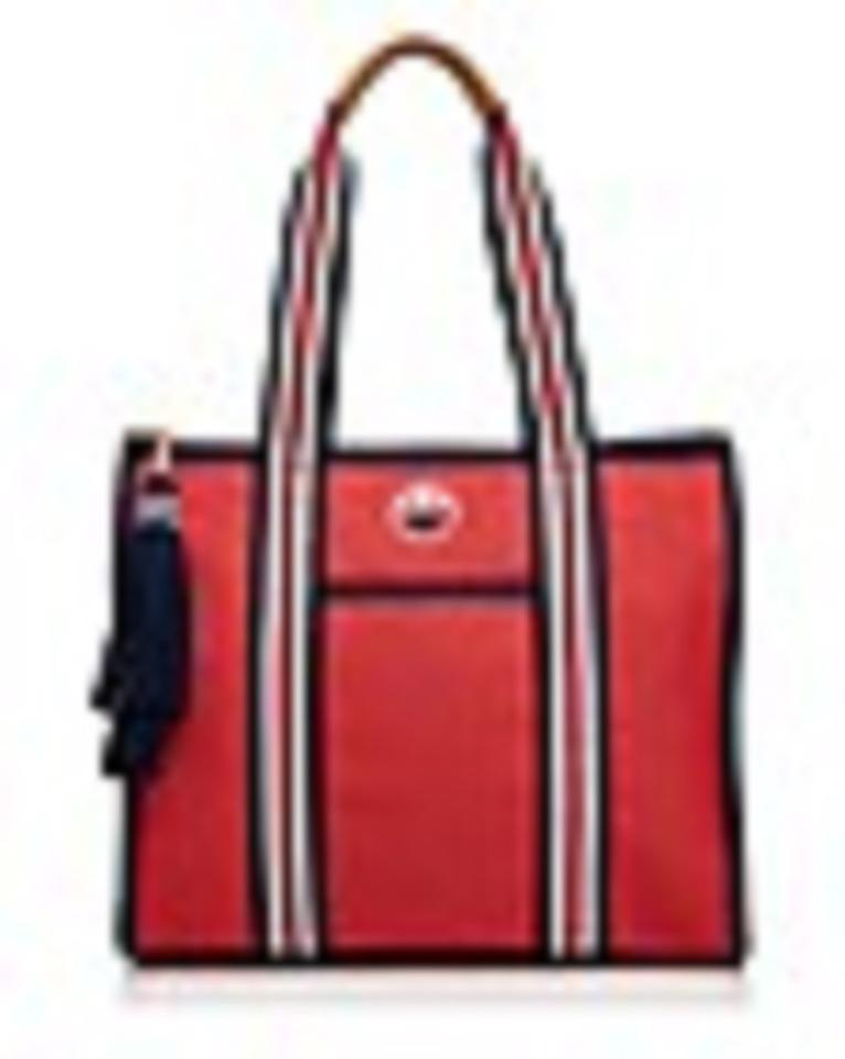 90a953bff78 Tory Burch Embroidered T Natural Tassel Red Navy Canvas Tote - Tradesy