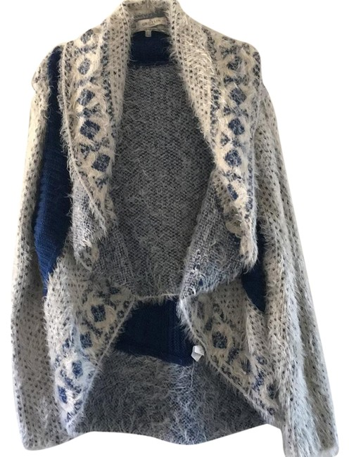 Item - Winter White and Deep Royal Cardigan Size 6 (S)