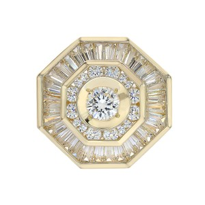 Avital & Co Jewelry 3.00 Carat Round And Baguette Cut CZ Mens Ring 14k Yellow Gold