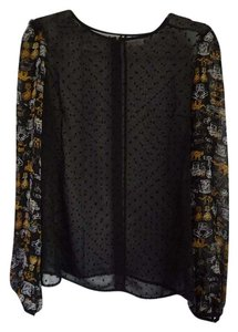 Rodarte for Target Sheer Polka Dot Ruffle Top Black