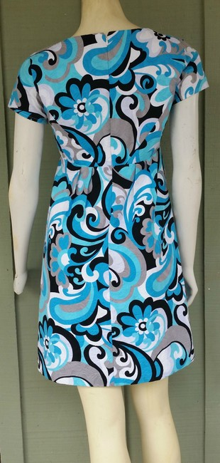 Muse short dress Turquoise Empire Floral Textured Cotton on Tradesy