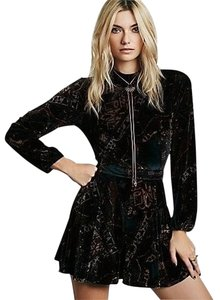 Free People Burnout Velvet Printed Emerald Combo Sz 6 Sm Dress