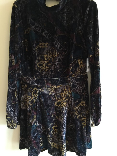 Free People Burnout Velvet Printed Emerald Combo 6 Sm Dress