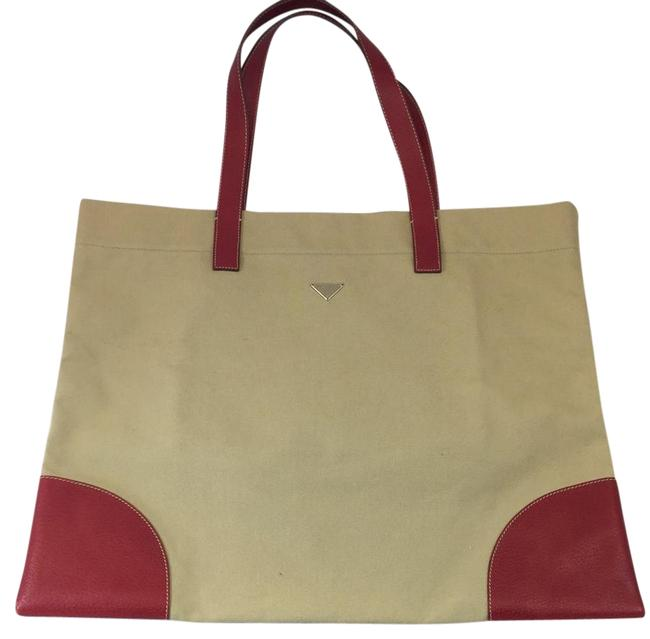 Item - Leather Red Khaki Canvas Tote