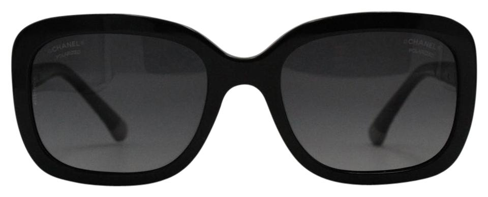 Chanel Black Silver Square Polarized Quilted Acetate