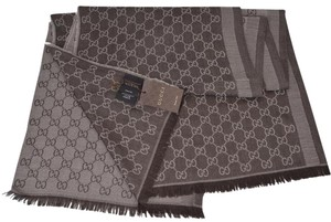 Gucci New Gucci 282390 Large Brown Sand Wool Silk GG Guccissima Scarf
