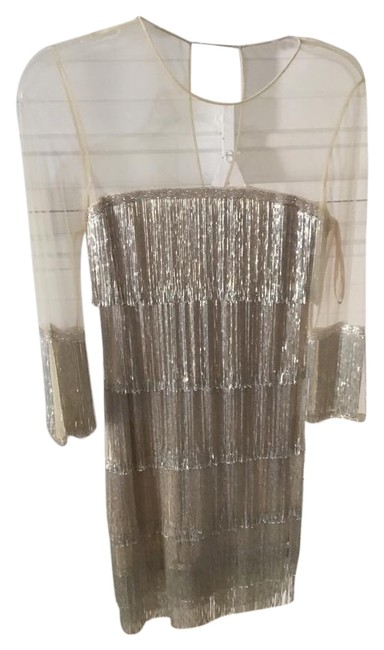 Item - Gold/Silver Hand Beaded Fringe By Short Cocktail Dress Size 2 (XS)