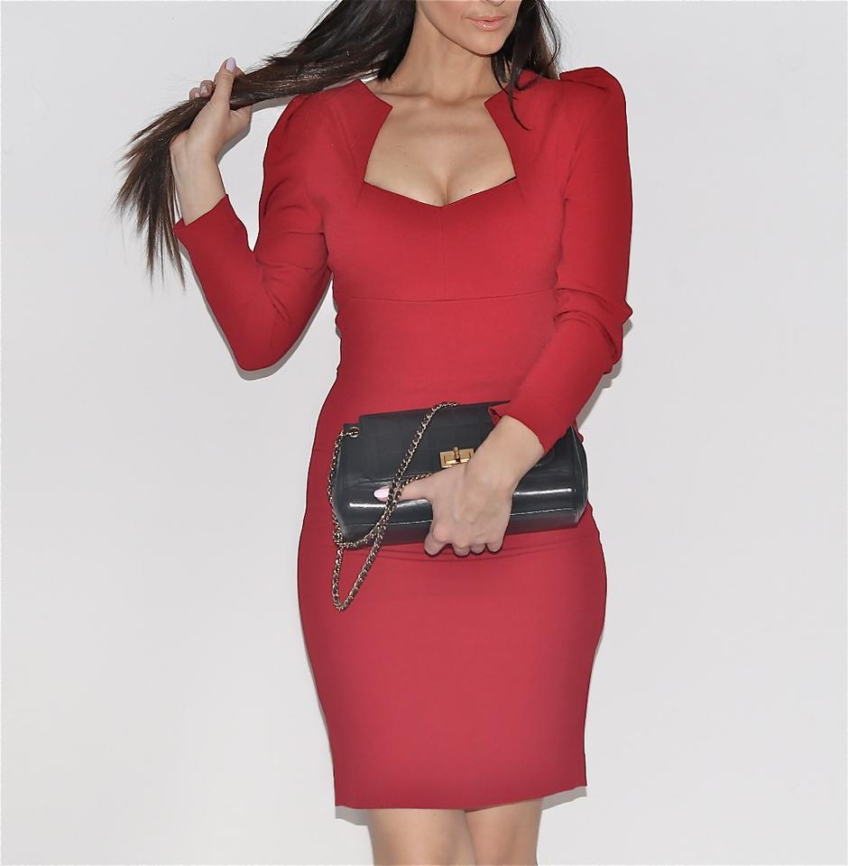 Roland Mouret Red For Neiman Marcus Burgundy Long Sleeve Short ...