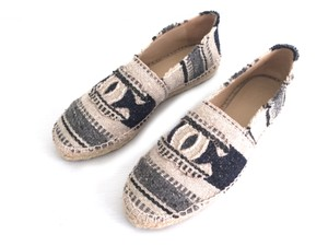 Chanel Espadrilles 39 Striped Navy, Beige and Gray Flats