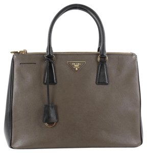 6dff8fbc9a1d Prada Leather Tote in Bicolor Olive Green and Black