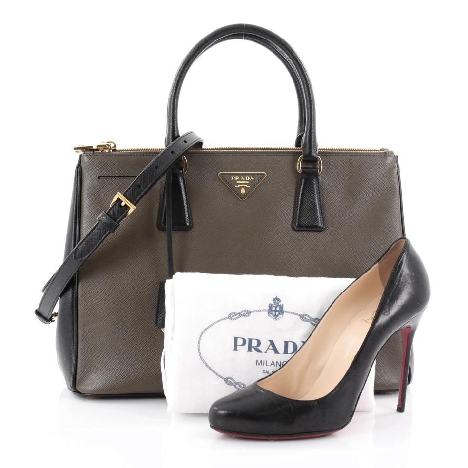 4c153203aa87 Prada Double Zip Lux Saffiano Leather Medium Bicolor Olive Green And Black  Tote Bag on Tradesy