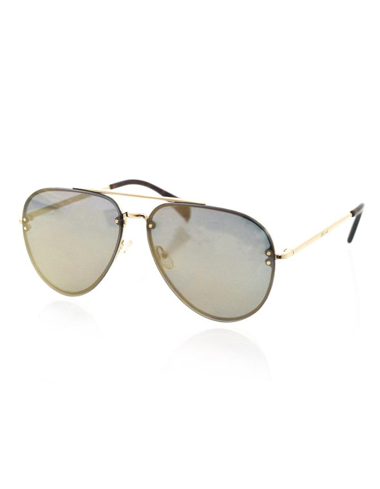 ada400a9c1 Céline Celine Gold Mirrored Aviator Sunglasses with Case