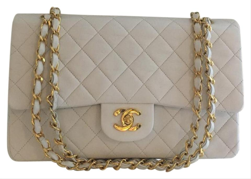 25f3fe887bb7 Chanel Classic Flap Medium White Lambskin Leather Shoulder Bag - Tradesy