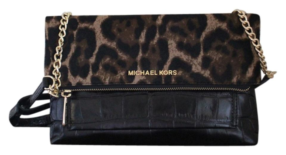 01c749c909c8 Michael Kors New Black Calf Travel Jet Set Clutch Purse Handbag Rare Animal  Print Animal Print ...