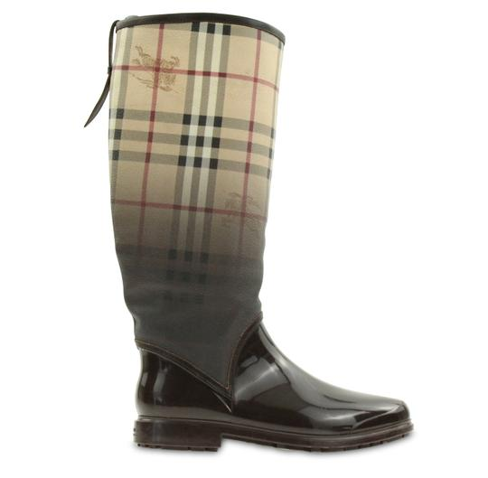 Burberry Beige Amp Brown House Check Rain Boots Booties Size
