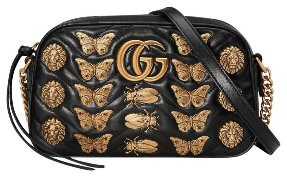 34feabeca99 Gucci Marmont Gg Animal Studs Shoulder Black Leather Cross Body Bag ...