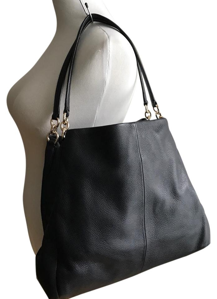 Coach Edie Style Pebble Leather Navy Black Shoulder Bag - Tradesy 4e51cfe02b266