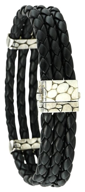 Item - * Sterling Silver / Black Woven Leather Classic Chain Triple Row Unisex Bracelet
