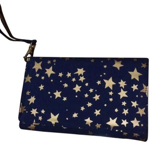 Barnes & Noble Wristlet in navy blue and metallic gold
