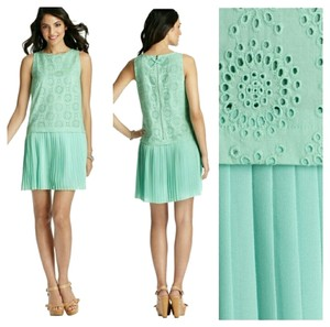 Ann Taylor LOFT short dress Mint, Green Eyelet Flapper Boatneck on Tradesy