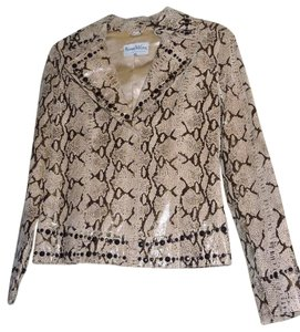Pamela McCoy Snakesking Leather Beaded Beige/Black Jacket