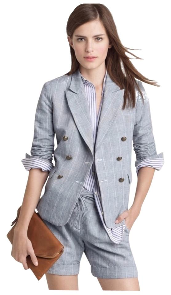 Double In Summer J Plaid Blazer Breasted Crew Owqa8R