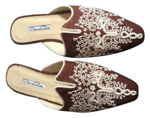 Oscar de la Renta Embroidered Fabric Brown Mules