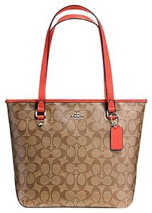 Coach Zip Top City City Tote in orange