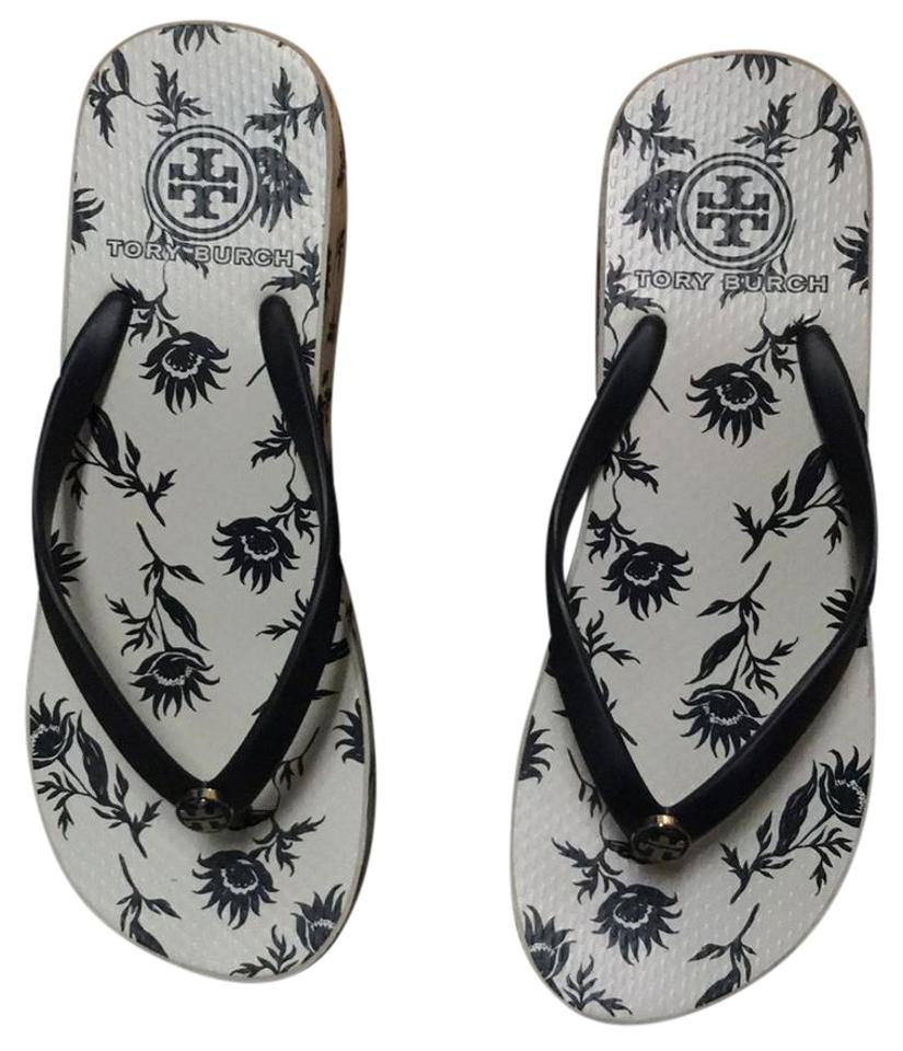 bb1638751c3f63 Tory Burch Black White Thandie Wedge Flip Flop Sandals Size US 7 ...