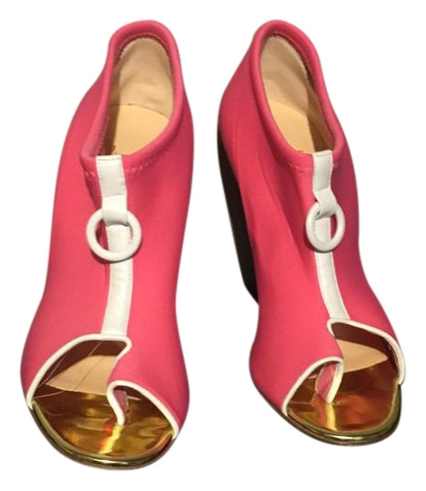 Christian Louboutin Pink and Gold Boots/Booties Snorkeling 100 Neoprene/Specchio Boots/Booties Gold a96530