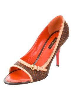 ccc160db1a0 Louis Vuitton Perforated Lv Monogram Peep Toe Gold Hardware Beige, Brown,  Orange Pumps