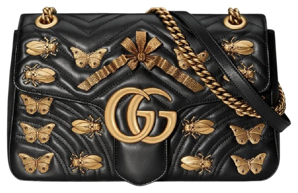 243692e6965 Gucci Marmont Full Set Gg Medium Animal Studs Black Leather Shoulder ...
