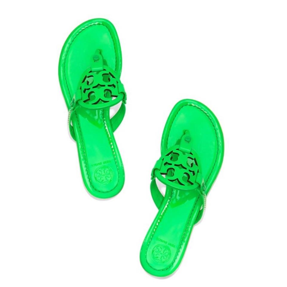 643acc8589c52d Tory Burch Green New Miller Fluorescent Patent Leather Sandals Size ...