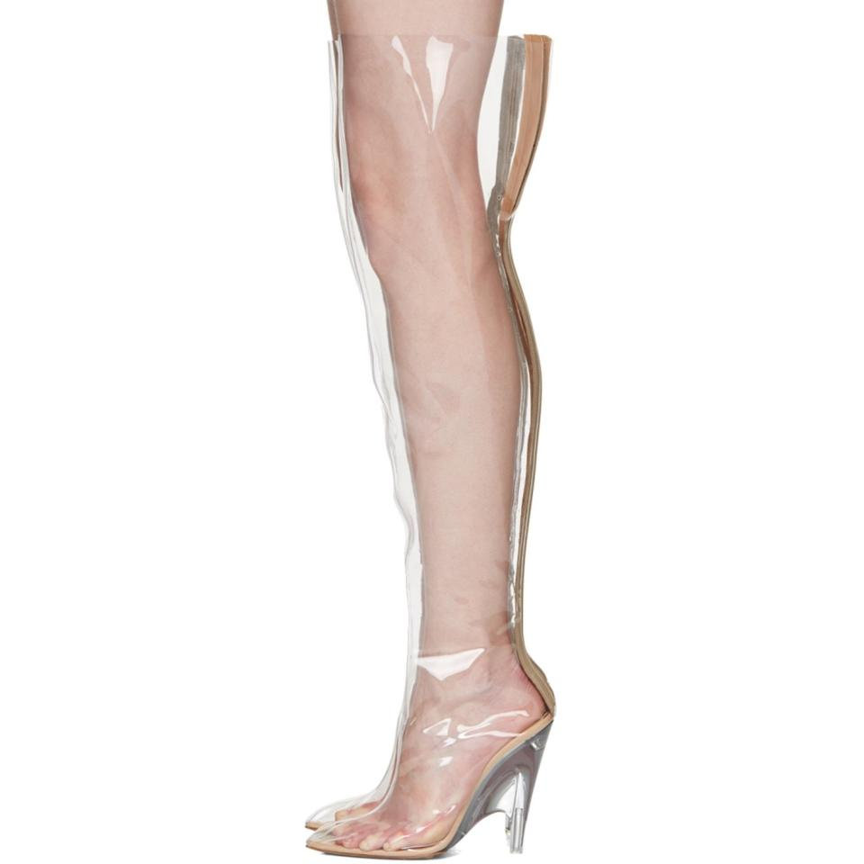 dd3ae99043f1 Sexy Rose Gold Pointy Toe AMI Clubwear PVC Thigh High Boots  Farrah Abraham Inspired  By