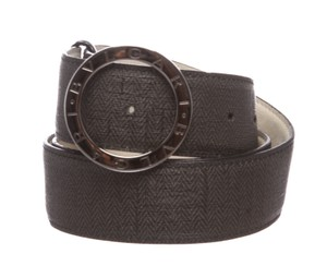 BVLGARI Bvlgari Black Gray Coated Canvas Leather Belt