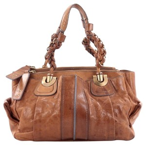 Chloé Helroise Leather Satchel in Light Brown