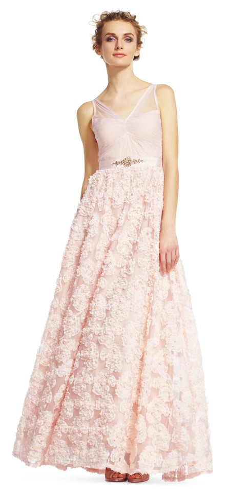 Adrianna Papell Blush Embellished Petal Chiffon Ball Gown Long ...