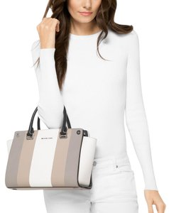4ef4f5eb4ed3d Michael Kors Selma 3-in-1 Free Swap Included Black White Soft  Leather Saffiano Leather Satchel