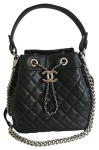 41099dc02242 Added to Shopping Bag. Chanel Cross Body Bag. Chanel Drawstring Quilted  Silver Chain Small Bucket ...