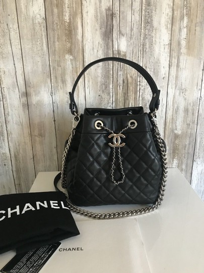 Chanel Drawstring Quilted Silver Chain Small Bucket Black