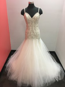 Mori Lee Lightgold/Silver Tulle 2874 Sexy Wedding Dress Size 12 (L)