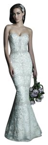Allure Bridals White/Silver Ivory/Silver Champagne/Ivory/Silver English Net and Organza C288 Formal Wedding Dress Size 6 (S)