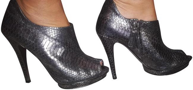 Item - Pewter Peep-toe Boots/Booties Size US 6 Narrow (Aa, N)
