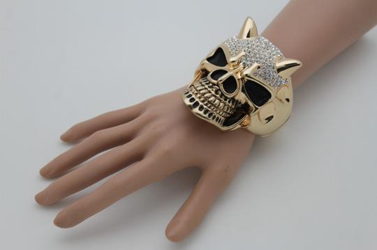 Alwaystyle4you Women Gold Devil Horn Skull Metal Hand Fashion Cuff Bracelet Gothic Image 2