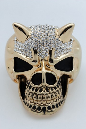 Alwaystyle4you Women Gold Devil Horn Skull Metal Hand Fashion Cuff Bracelet Gothic Image 3