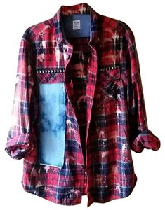 Mossimo Supply Co. Bleached Shirt Punk Rock Bleached Shirt Recycled Fashion Button Down Shirt red plaid