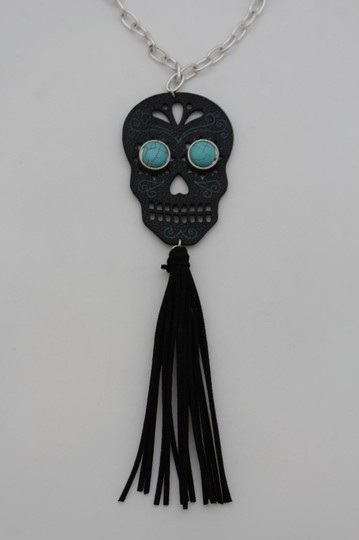 Alwaystyle4you Women Black Long Fringes Skull Necklace Silver Chain Fashion Jewelry Image 1