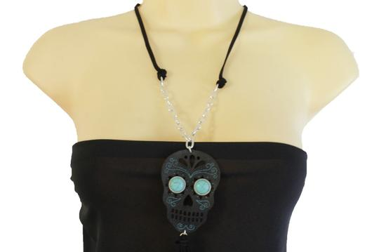 Alwaystyle4you Women Black Long Fringes Skull Necklace Silver Chain Fashion Jewelry Image 3