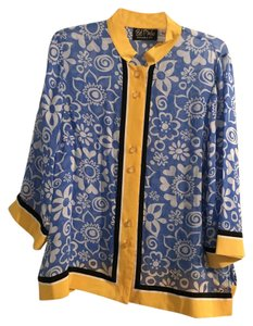 Bob Mackie Button Down Shirt blue, white, and yellow