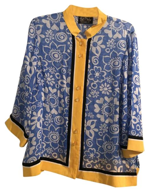 Preload https://img-static.tradesy.com/item/22247168/bob-mackie-blue-white-and-yellow-wearable-art-button-down-top-size-12-l-0-1-650-650.jpg